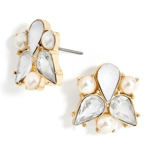 BaubleBar Josephine Pearl & Gold Stud Earrings